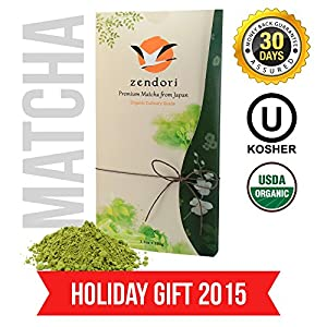 ZENDORI Matcha Green Tea Powder - Japanese FOOD / CULINARY Grade (ORGANIC | KOSHER) - for Smoothies, Latte, Baking - Healthy Tea Gifts - 3.5oz/100g