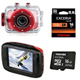 Bundle EasyPix GoXtreme Race Rot Action HD Cam Outdoor Fun Ski Alpin & 16GB MicroSD HD Toshiba High Speed Exceria W:30 R:95