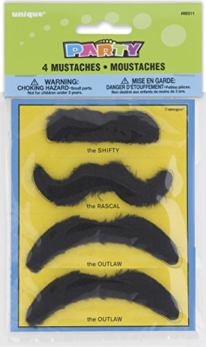 Fake Mustache Party Favors, Assorted 4ct