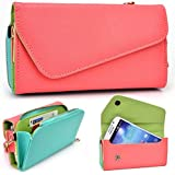Coral Turquoise Crossbody Case For Spice Mi-550 Pinnacle Stylus Smartphone Phablet