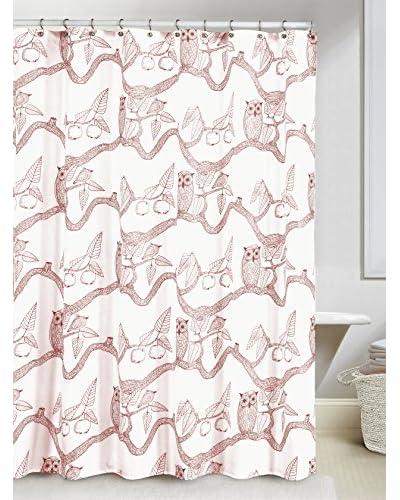Duck River Textile Eve Owl Print Shower Curtain, Cranberry