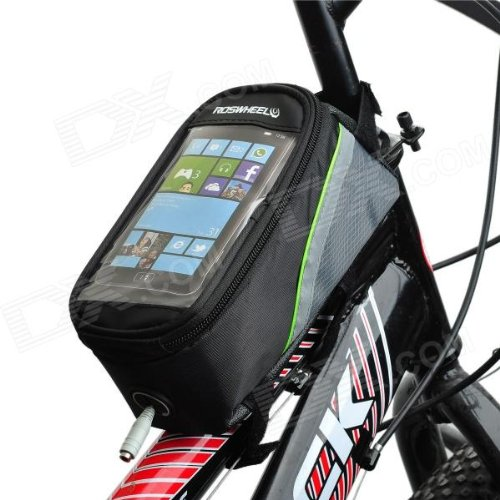Agptek® Large Size Roswheel Top Quality Waterproof Bicycle Cycling Frame Pannier Front Tube Bag W/ Headphone Jack - 129G, Green And Black, Pe Cotton Filling, Clear Pvc Window Pouch For 4.2 Inch Cell Phone
