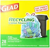 Glad Outdoor Drawstring Large Recycling Trash Bags, 30 Gallon, 28 Count