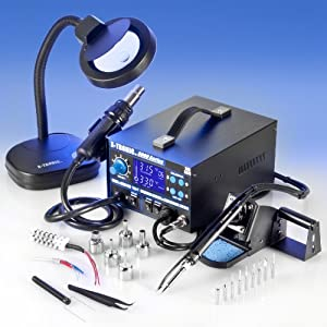 """4 IN 1 """"X-TRONIC"""" MODEL #9020-XTS HOT AIR REWORK & SOLDERING IRON STATION, FUME EXTRACTOR & VACUUM PICKUP TOOL - 5 Hot Air Nozzles - 10 Asst. Solder Tips - 1 Extra Hot Air & Soldering Iron Heating Element - Pinpoint Tweezers - 1 5X MAGNIFYING LAMP!!! from"""
