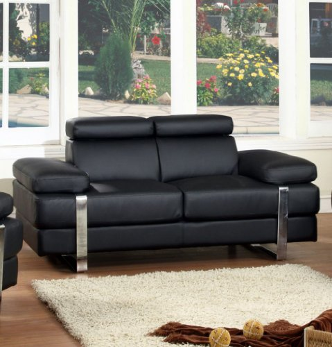 Buy Low Price Chintaly Imports Canton Bonded Leather Loveseat (CANTON-LVS)