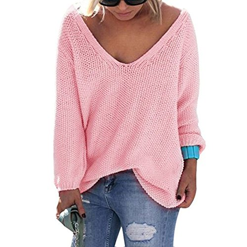 Herebuy8 Womens Casual Autumn V Neck Loose Knit Pullover Solid Sweater (Pink, L)