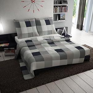2 tlg et rea premium baumwolle bettw sche einzelbettgr e rian schwarz anthrazit grau karo. Black Bedroom Furniture Sets. Home Design Ideas