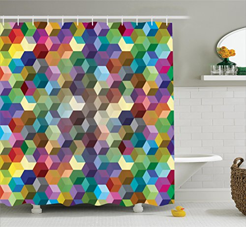 Ambesonne Abstract Home Decor Collection, Color Cubes Mosaic Party Festive Theme Modern Fun Geometric Artwork, Polyester Fabric Bathroom Shower Curtain, 75 Inches Long, Olive Blue Purple Teal