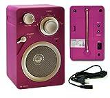 FM-Radio Netz- oder Batteriebetrieb PINK Retroradio Gummierte Gehäuse UKW-Radio