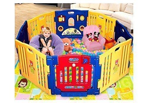 Ibaby Play Twin Box XXL 8 Piezzi + Tappetini Puzzle / Modulabili Espandibile / Recinto per la Sicurezza del Bambino