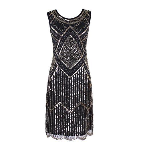 KAYAMIYA Women's 1920S Sequined Fringe Beaded Gatsby Flapper Evening Dress