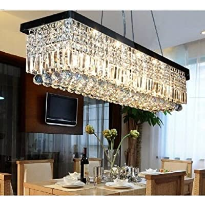 "Siljoy L39.5"" X W10"" X H10"" Rectangle Clear K9 Crystal Ceiling Light Fixture Black Finish Modern Pendant Lighting Fast Shipping"