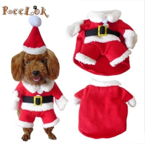 [NEW REELOK Christmas Santa Claus Pet/Dog Clothes Holiday Costume/Outfit/Clothes Warm for Winter and Holiday season with Xmas Hat - M Size] (Dog Outfits For Christmas)