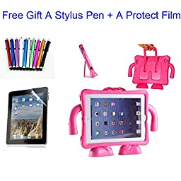 Qihang(TM) EVA Kids Light Weight Friendly Shock Proof Stand Case Cover for iPad 2 3 4 Generation(gift for a stylus pen+a protect film) (Rose Pink)