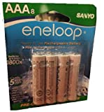 eneloop NEW 800 mAh Typical, 750 mAh Minimum, 1800 cycle, 8 pack AAA, Ni-MH Pre-Charged Rechargeable Batteries