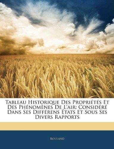 Tableau Historique Des Propriétés Et Des Phénomènes De L'air: Considéré Dans Ses Différens États Et Sous Ses Divers Rapports