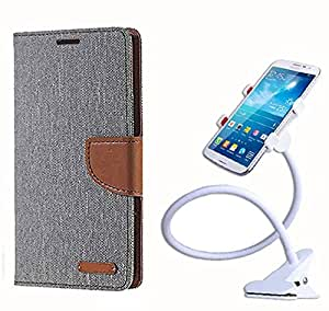 Aart Fancy Wallet Dairy Jeans Flip Case Cover for MicromaxA104 (Grey) + 360 Rotating Bed Moblie Phone Holder Universal Car Holder Stand Lazy Bed Desktop by Aart store.