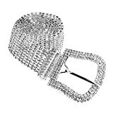 Luxury Sparkling Silver Plated Crystal Rhinestone Big Belt Woman Waistband