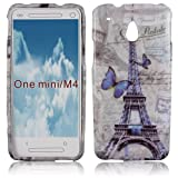 Thematys Silicone Protective Phone Case in Paris Design for HTC One Mini Blue