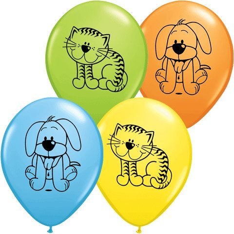 "PIONEER BALLOON COMPANY Round Cuddly Kitten and Puppy, 11"", Multicolor"