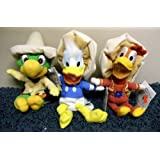 "Retired Disney 3 Caballeros 8"" Plush Bean Bag Set With Jose Carioca, Panchito, And Donald Duck - New With Tags"