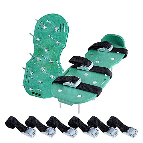 Lawn Aerator Spike Shoes, Ohuhu Adjustable Aerating Lawn Soil Sandals with Metal Buckles and 3 Adjustable Straps, Heavy Duty Spiked Sandals for Aerating Your Lawn or Yard (black)