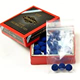 3 X 9mm Leather Blue Diamond Pool Snooker Cue Tips Free Sandpaper