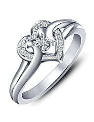 Vorra Fashion Platinum Plated 925 Silver Round - Cut CZ Heart Shape Promise Ring