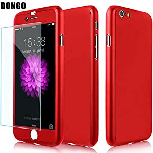 Aart New Style ultra thin 360 Degree full protection + Tempered Glass For Apple 4.7 Inch for I Phone 6/6S- Red
