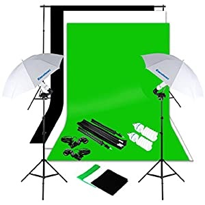 Excelvan Photography Studio Lighting Set + Backgrounds (Black White Green )