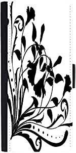 Snoogg Floral Corner Silhouette Graphic Snap On Hard Back Leather + Pc Flip C...