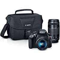 Canon EOS Rebel T6 18MP HD Digital SLR Camera with 18-55 & 75-300mm Lens with Case (Black)