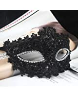 Foxnovo Exquise Style dentelle Crystal Rhinestones Cosplay masque vénitien pour Halloween /Masquerade /Costume Party (noir)