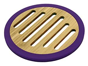 Totally Bamboo 20-6550 Silicone Non-Skid Round Trivet, Eggplant