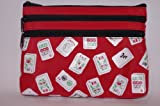Mah Jongg Red Color Tiles 3 Zipper Mah Jong Purse for Mahjong Card