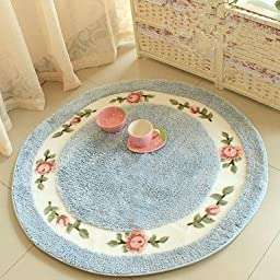 Idyllic floret soft Round carpet. Computer chair mat blanket. Parlor bedroom carpet