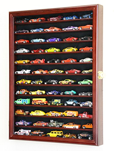 Hot Wheels Matchbox 1/64 scale Diecast Display Case Cabinet Wall Rack w/UV Protection -Cherry (Die Cast Display Case 1 64 compare prices)
