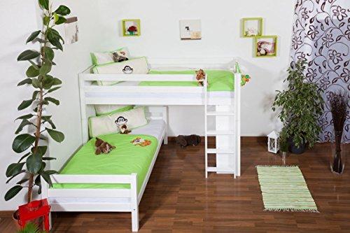 Lit pour enfant / Lit superposé Moritz L en hêtre massif peint en blanc, avec étagère, sommier à lattes déroulable inclus - 90 x 200 cm