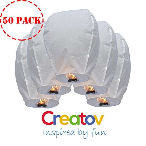 Chinese Flying Sky Lanterns, Paper Wish Lanterns - for Festivals, Weddings, Backyard Parties, -50 Pack, White- By Creatov®