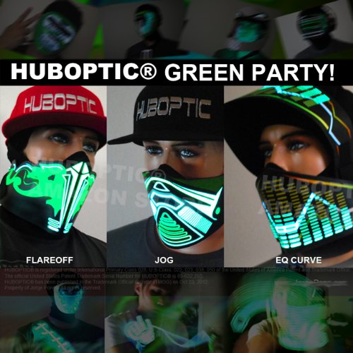 Dj LED Mask Combo - Light up Green Party Masks Combo: Jog, Eq Curve & Flareoff Green Masks Series