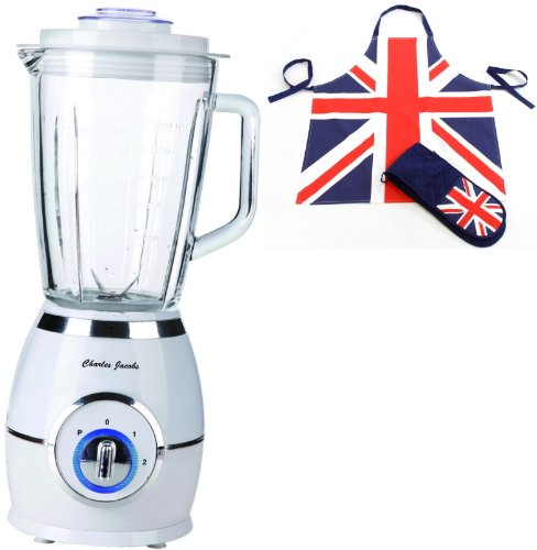 Charles Jacobs 1.5L Solid Glass Jug Powerful Food Blender with 2 Speeds plus Pulse in