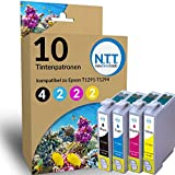 N.T.T.® 10 Stück XL Tintenpatronen für Epson Stylus (4 x T1291 , 2x T1292 , 2x T1293 , 2x T1294) mit Chip; 2 komplette Sätze + 2 x schwarz gratis