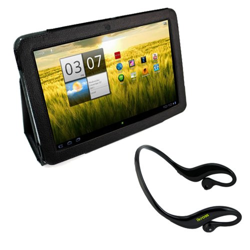 iKross Water Resistant Bluetooth Outdoors Sport Stereo Handsfree Headset + Black Smooth Synthetic PU Leather Protector Cover Case with Stand for Acer Iconia A200 10.1-Inch Screen Tablet