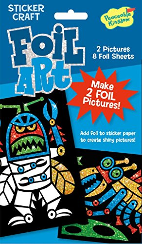Peaceable Kingdom Foil Art Robots Sticker Craft Pack