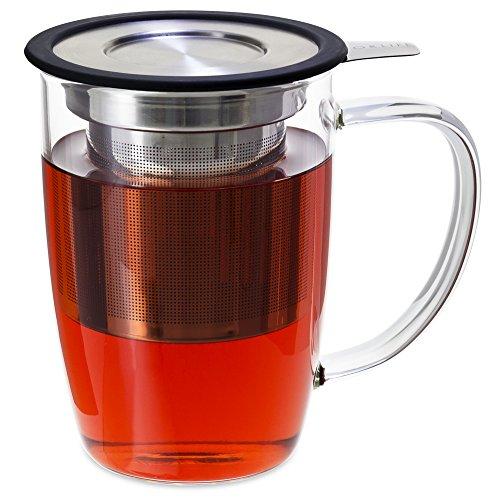 FORLIFE NewLeaf Glass Tea 16-Ounce Mug with Infuser and Lid, Black (Glass Mug Microwavable compare prices)