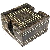 Brown Beautiful Wooden Tea Coaster -Handmade Retro Wood Coaster Set With 6 Coaster For Bar Table Gift Idea -4...