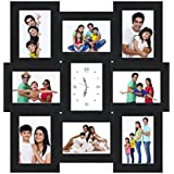 GKVale Wooden Collage Photo Frame With Clock (53 Cm X 53 Cm X 2 Cm, Black)