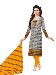 Taos Brand cotton dress materials for women womens dress materials cotton salwar suit New Arrival latest 2016 womens party wear Unstitched dress materials for women (1412 summer__orange white and black_freesize