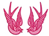 Pink Tattoo Sparrow Swallow Emo Punk Embroidered iron on Motorcycle Lady Biker Patch