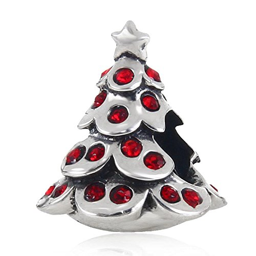 Merry Christmas Tree Charms Authentic .925 Sterling Silver Bead Fits Pandora Charms Bracelet, Xmas Gifts (red) (Pandora Charms Number 1 compare prices)